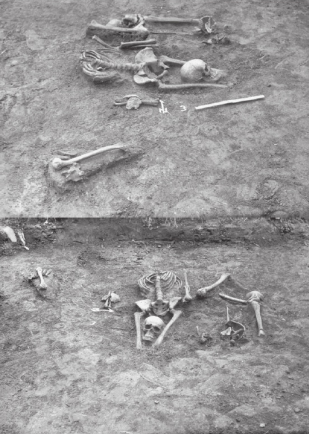 In 1987 this skeleton was dug up in Sanok, southern Poland. The head had been removed and placed between the legs. By R. Biskupski, CC BY-SA 4.0, via Wikipedia Commons.